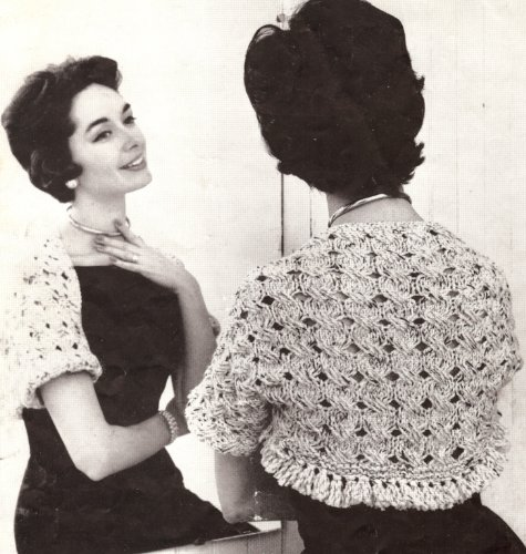 Cable Bolero - Vintage Knitting PATTERN to make - Knitted Quick Knit Cable Bolero Shrug. NOT a finished item. This is a pattern and/or instructions to make the item only.
