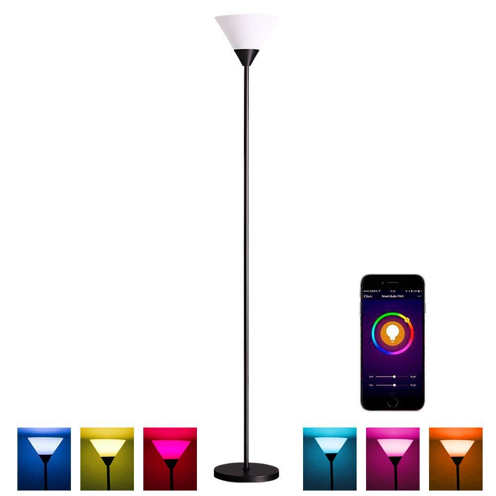 MLGB Alexa WiFi Smart Floor lamp, Dimmable Multicolored Color Changing LED Light, 68 Inches Uplight with White Shade Black Torchiere