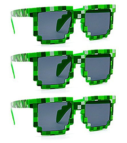 MJ Boutique's 8-Bit Pixel Retro Novelty Gamer Geek / Creeper Costume Sunglasses Adult Size (3 Pack Green, (Minecraft Costumes Kids)