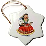 Enid545Anne Funny Christmas Snowflake Ornament New Yeay Gifts Print of Retro Mexican Doll in Native Dress Holiday Xmas Tree Hanging Ornament New Yeay Gifts Decoration Gifts