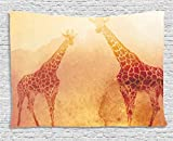 Ambesonne Safari Decor Tapestry, Illustration of Tropic African Giraffes Tallest Neck Animal Mammal in Retro Vintage Print, Wall Hanging for Bedroom Living Room Dorm, 60 W X 40 L Inches, Orange