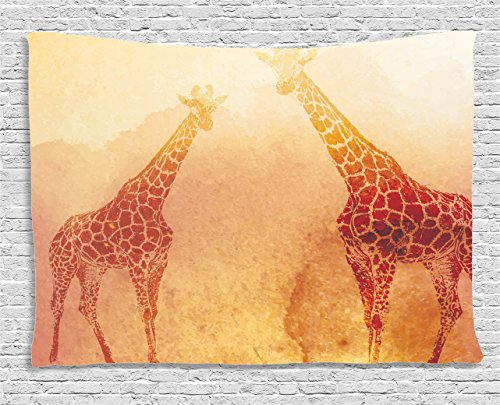 African Wall Tapestry - Ambesonne Safari Decor Tapestry, Illustration of Tropic African Giraffes Tallest Neck Animal Mammal in Retro Vintage Print, Wall Hanging for Bedroom Living Room Dorm, 80 W X 60 L Inches, Orange