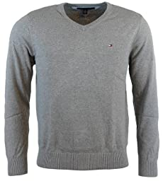 Tommy Hilfiger Mens Long Sleeve Pacific V-Neck Pullover Sweater - S - Gray