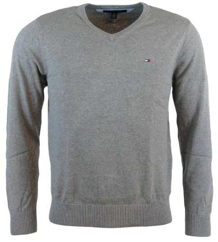 - Tommy Hilfiger Mens Long Sleeve Pacific V-Neck Pullover Sweater - M - Gray