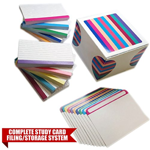 Debra Dale Designs - 110# Color Bar Ruled Index Cards - 3x5 Inches - 24 Point Cardstock Storage Filing Box - Plus 10 Matching Index Card Extra Thick Divider Sheets - Complete Study Learning System ()
