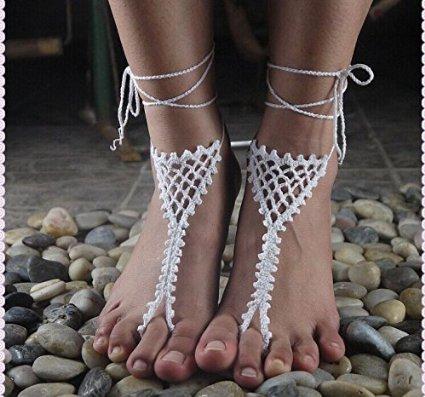 Amazoncom Barefoot Sandals Crochet Pattern Bridesmaids Gift