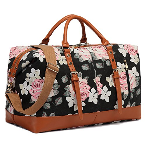 CAMTOP Weekend Travel Bag Ladies Women Duffle Tote Bags PU Leather Trim Canvas Overnight Bag (Flower) ()