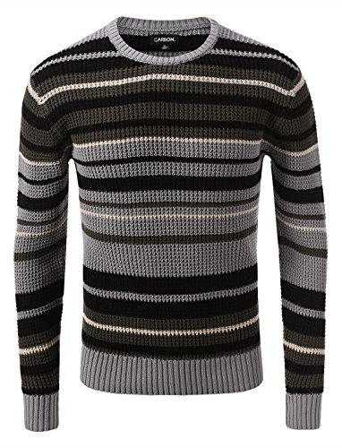 Rue 21 Carbon Stripe Cable Knit Sweater Black Olive Gray Olive Gray Size XL (Rue 21 Carbon)