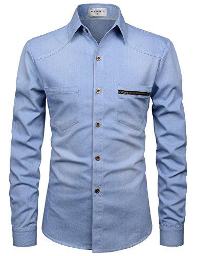 NEARKIN Mens Slim Fit Medium Wash Denim Spandex Button Down Shirts