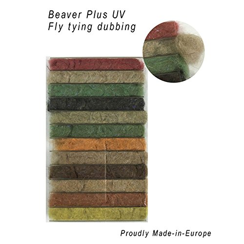 Fly Tying Dubbing - Riverruns 12 Kinds of Dubbing Fly Tying Materials Dispenser Large Box 12 Natural Color New Proudly from Europe Steelhead,Salmon,Saltwater,Warm Water, Worldwide! (Beaver Plus UV Dubbing)
