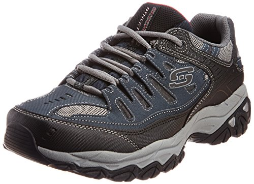 Skechers Sport Men's Afterburn Memory Foam Lace-Up Sneaker, Navy, 9.5 M (Skechers Leather Lace Up Sneakers)