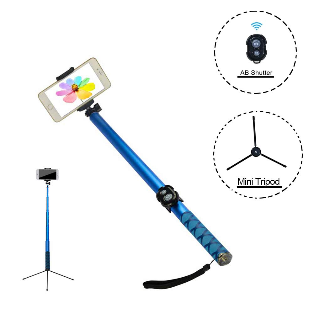 Topfit Cellphone Extra-Long Selfie Stick, Extendable Foldable Selfie Stick with Wireless Bluetooth Remote and Adjustable Holder for iPhone,Samsung and Android All Smartphones.(Blue,118 inch Long)