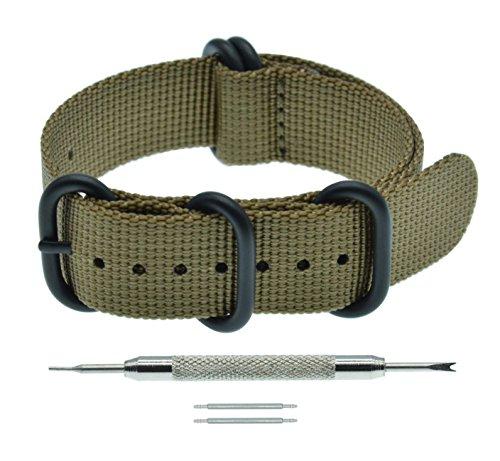 26mm Khaki NATO Zulu Style Watch Bracelet Strap Replacement Nylon Watch Band