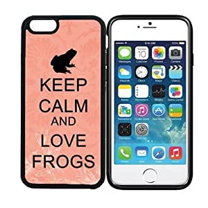 iPhone 6 (4.7 inch display) RCGrafix Keep Calm And Love Frogs 2 - Designer BLACK Case - Fits Apple iPhone 6- Protected Cell Phone Cover PLUS Bonus Iphone Apps Business Productivity Review Guide