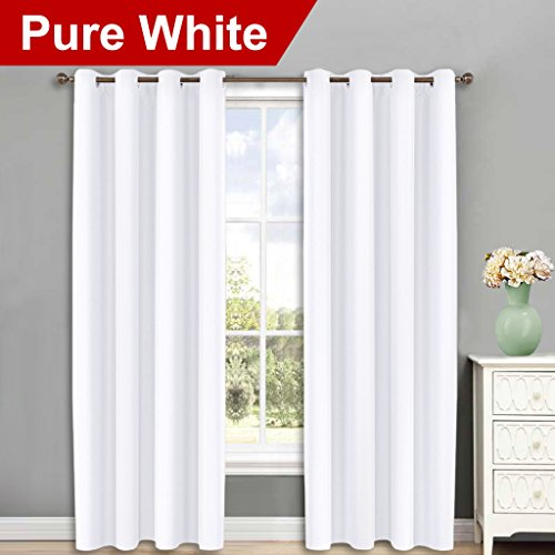 NICETOWN Curtains 84 inches Long - (Pure White) 52 by 84-Inch, 1 Pair, 50% Light Blocking Grommet Drapes/Draperies for Living ()