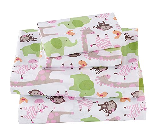 Fancy Collection 4pc Full Size Sheet Set Safari Monkey Giraffe Elephant Zebra White Pink Green Brown Taupe New