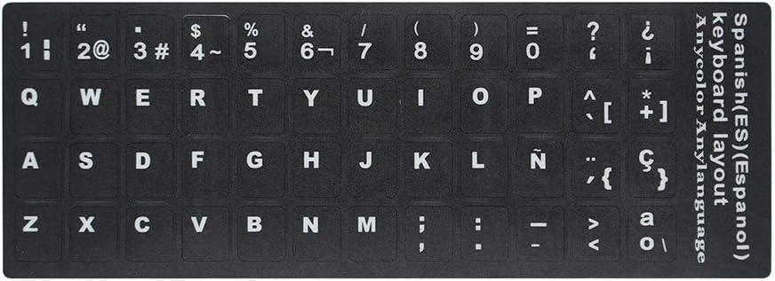 Docooler Mesas para Ordenador Calcomanía de Teclado QWERTY de reemplazo español con Grandes Letras Universal no Transparente para portátil