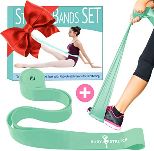Elastic Bands for Exercise 2 Excersize Resistance Bands for Dance and Ballet, 2 Resistance Bands for Stretching, Dance and Gymnastics, Ballet Stretch Band Gift Box, Instructions and Travel Bag
