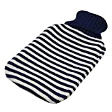 Full Size Hot Water Bottle With Knitted Cover - Blue Stripe