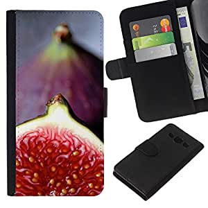 KLONGSHOP // Tirón de la caja Cartera de cuero con ranuras para tarjetas - Rojo Tropical Fruit - Samsung Galaxy A3 //