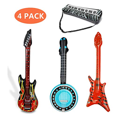 HENBRANDT 2 x Flame Red Black Inflatable Electric Rock Guitars 106 cm