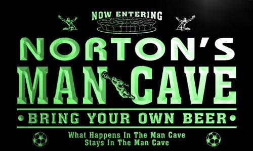 qd1466-g NORTON's Man Cave Soccer Football Neon Beer Sign by AdvPro Name