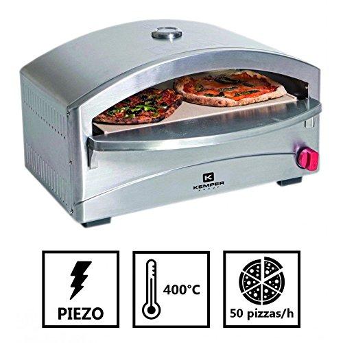 Grill Gas Ofen Hat Pizza Einheitsgröße–Kochen auf Stein réfractaire- 4,8kW–400°C in 5Mn–Struktur Edelstahl–Piezozündung