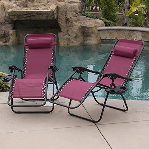 New Zero Gravity Chairs Case Of (2) Burgundy Lounge Outdoor Patio Yard Beach Chairs! - Beach Miami Outlet