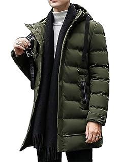 FSSE Mens Warm Hooded Winter Fleece Lined Down Quilted Jacket Coat Outwear