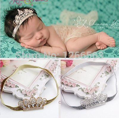 RedSonics(TM)Lovely Princess Crown Headband Baby Girl Hair Accessories Tiara Infantil Elastic Hair Bands, Newborn Baby Headbands Photos