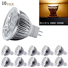 Xking 10pack Dimmable Mr16 LED Bulb 12v 4w - 50watt Equivalent Mr16 LED Spotlight - Bi Pin Gu5.3 Base - 330 Lumen 60 Degree Beam Angle for Landscape, Accent, Recessed, Track Lighting(warm White)