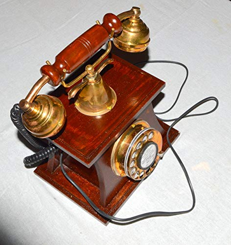 ANTIQUE STYLE BRASS AND WOOD HUT RETRO TABLE TELEPHONE DIAL ANCIENT PRIMITIVE by royalantique