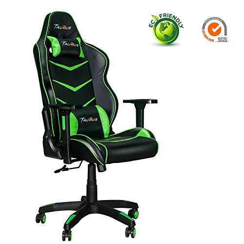 Ergonomic Gaming Chair, Taurus Computer Gaming Chair with Adjustable Armrest and Backrest PU Leather Large Size Racing Chair with Headrest and Lumbar Support Best Gaming Chair (Green)