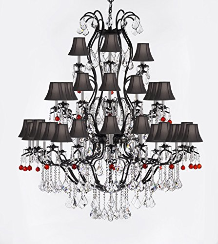 Large Wrought Iron Chandelier Chandeliers Lighting with Ruby Red Crystal Balls! H60