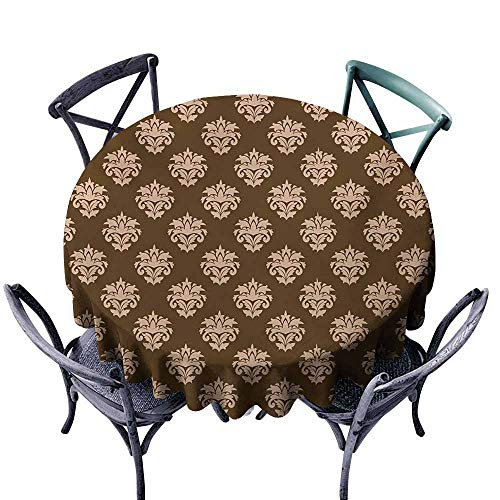 VIVIDX Washable Round Tablecloth,Damask,Retro Style Antique Floral Motifs with Victorian Influences Abstract Ornaments,Table Cover for Home Restaurant,70 INCH,Tan and Brown (Damask Floral Grass)