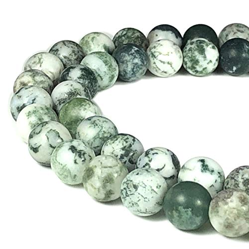 [ABCgems] Matte Brazilian Tree Agate (Beautiful Matrix) 8mm Smooth Round Beads for Beading & Jewelry Making