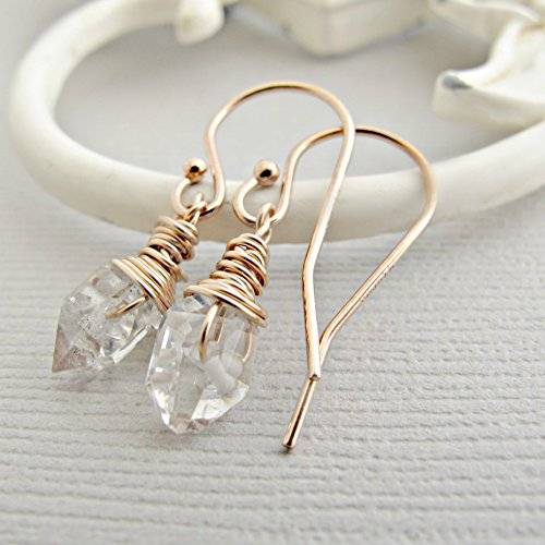 Rose Gold Rose Quartz Ring - Raw Quartz Drop Earrings, Herkimer Diamond Earrings , 14k Rose Gold Fill, Rough Diamond Earrings, Crystal Earrings, Quartz Drop Earrings, Diamond