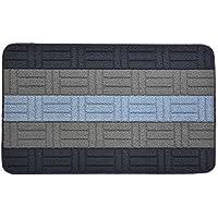 Kitchen Bathroom Hallway Entry Mat Doormat Rug Slip Skid Resistant Rubber Back Greek Key Blocks Design Anti Bacterial (Blue, 18 in x 30 in Mat)
