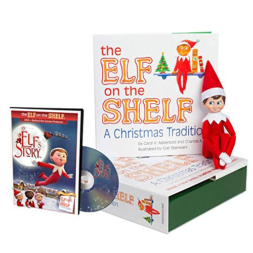 The Elf on the Shelf Christmas Tradition with North Pole Blue Eyed Boy Elf with DVD ()