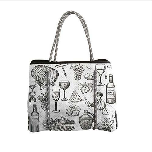 iPrint Neoprene Multipurpose Beach Bag Tote Bags,Wine,Hand Drawn Wine Set in Sketch Style Vintage Gourmet Country Themed Artwork Decorative,Charcoal Grey White,Women Casual Handbag Tote Bags