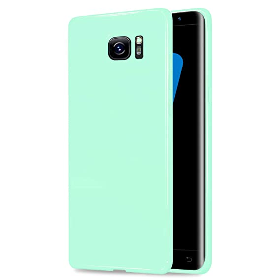 Galaxy S7 Jelly Case, ANLEY Candy Fusion Series - [Shock Absorption]  Classic Jelly Silicone Case Soft Cover for Samsung Galaxy S7 (Mint Green) +  Free