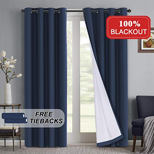 (Turquoize 100% Blackout Drapes for Window Treatment Blackout Lined Curtain for Bedroom Navy 108 Inch Long for Nursery Room Curtain Panel Waterproof Window Treatment 2 Panel, Navy, 108 Inch)