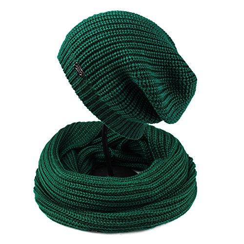 Crochet Winter Hat Pattern - FURTALK Women Girls Merino Wool Slouchy Knit Beanie Hat Scarf Set Soft Winter Crochet Cap (Olive Green)