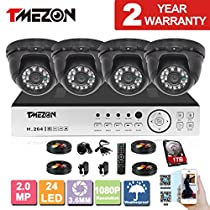 TMEZON 4 Channel AHD Home Security Cameras System 1080P DVR Kit 4x HD 1080P 2.0MP Night Vision Indoor/Outdoor CCTV Surveillance Quick Smartphone View Free App 1TB HDD