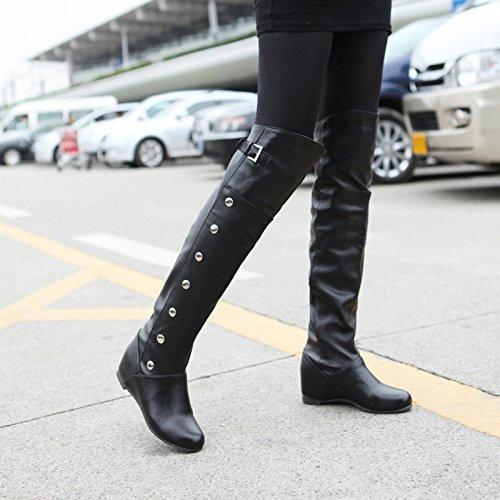 QIN& X La mujer talón plano alto incremento interno de largo sobre la rodilla botas zapatos Negro 32