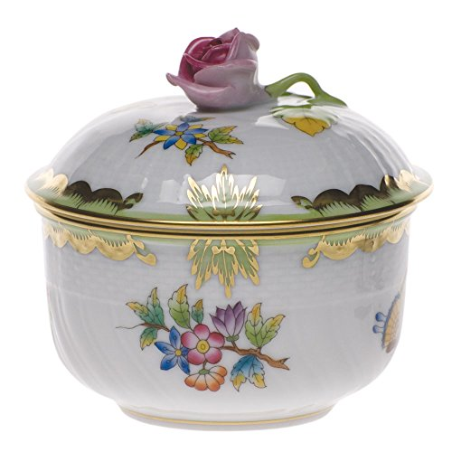 Herend Queen (Herend Queen Victoria Covered Sugar With Rose)