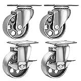 4 All Steel Swivel Plate Caster Wheels w Brake Lock