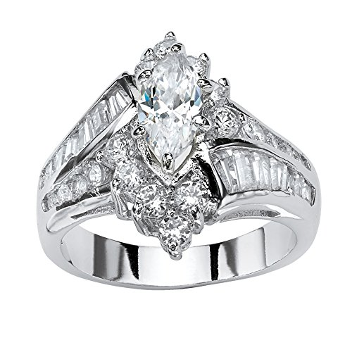 Palm Beach Jewelry Platinum Plated Marquise Shaped and Baguette Cubic Zirconia Bypass Engagement Ring Size 8