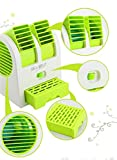 Mini Electric Bladeless Cooling Fan Small Personal Desk Table Battery Operated Portable USB Fan for Office Outdoor (Green)