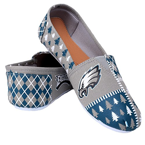 Nfl Femmes Football Dames Toile Slip-on Chaussures À Rayures Moche - Pick Équipe Philadelphia Aigles